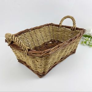 Two-Tone Tan Cream Handled Wicker Storage Basket